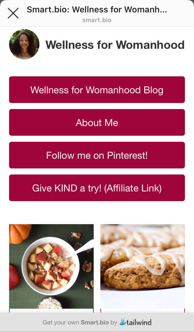 Wellness for Womanhood smart.bio - an easy way to sell products on instagram/ selling on instagram